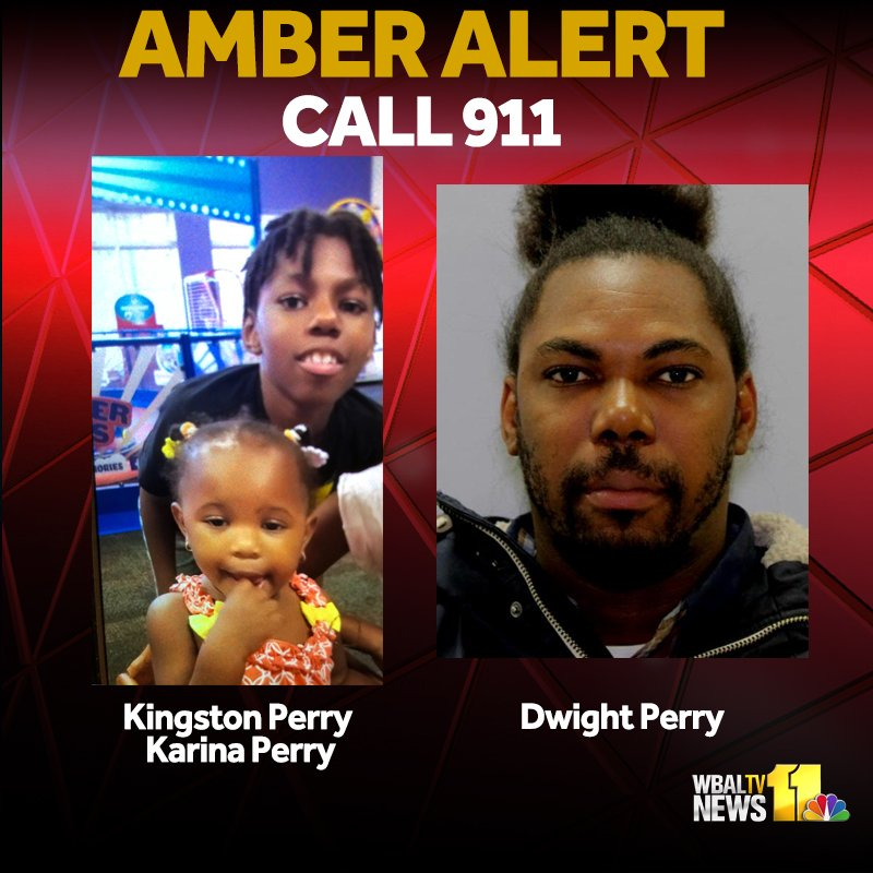 AMBER ALERT: Police looking for Kingston Perry, 9, and Karina Perry, 18 months. They are with Dwight Reylando Perry, 35. Last seen in Gaithersburg. Dwight should be driving a blue Toyota Camry with Maryland tag 5DF8922.