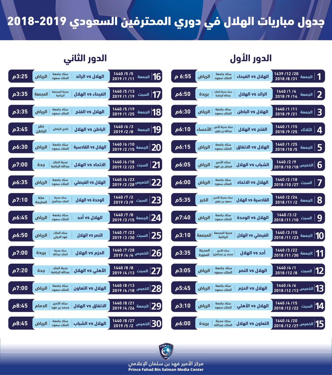 جدول مباريات اليوم في الدوري السعودي