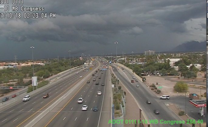 I-10 near Congress and the I-19 in Tucson: Storms make for stunning skies. #AZtraffic #Tucson