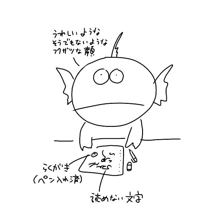 お絵描き大好き悪筆人間が「試験はノート持ち込みアリです!」というのを聞いたときの図