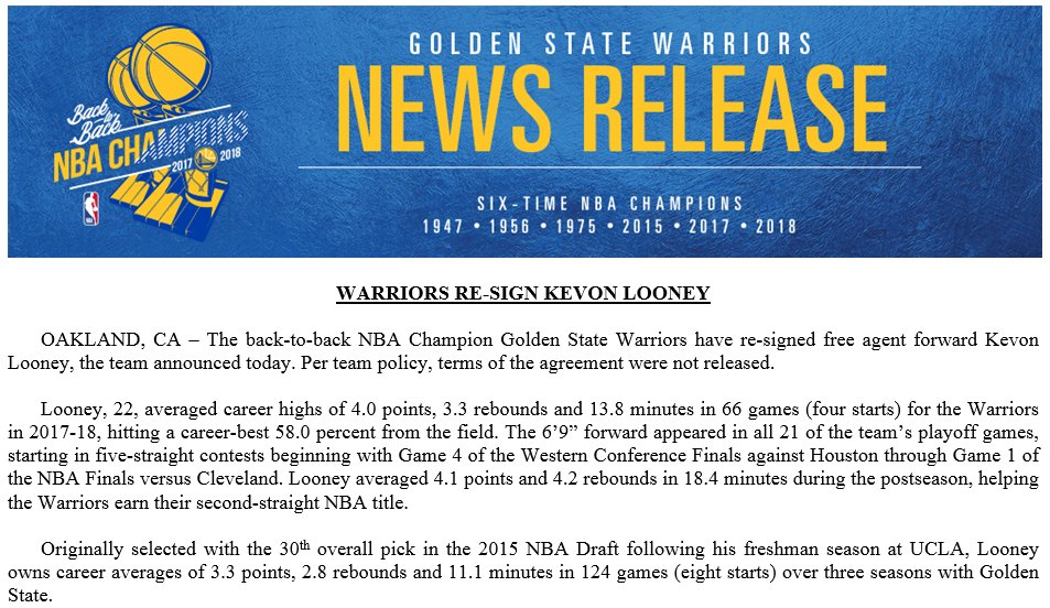 Warriors Have Officially Re Signed Forwardcenter Kevon Looney