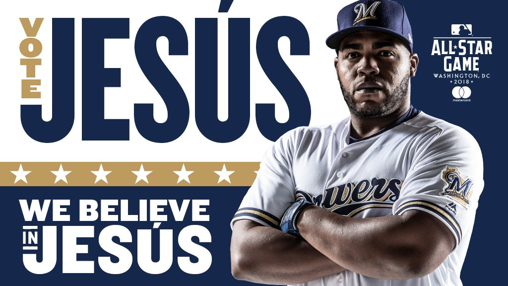 O come, all ye #Brewers faithful.  O come, let us elect him. #WeBelieveInJesús: https://t.co/XcOsuCe2eA https://t.co/IW2EHWUjVw