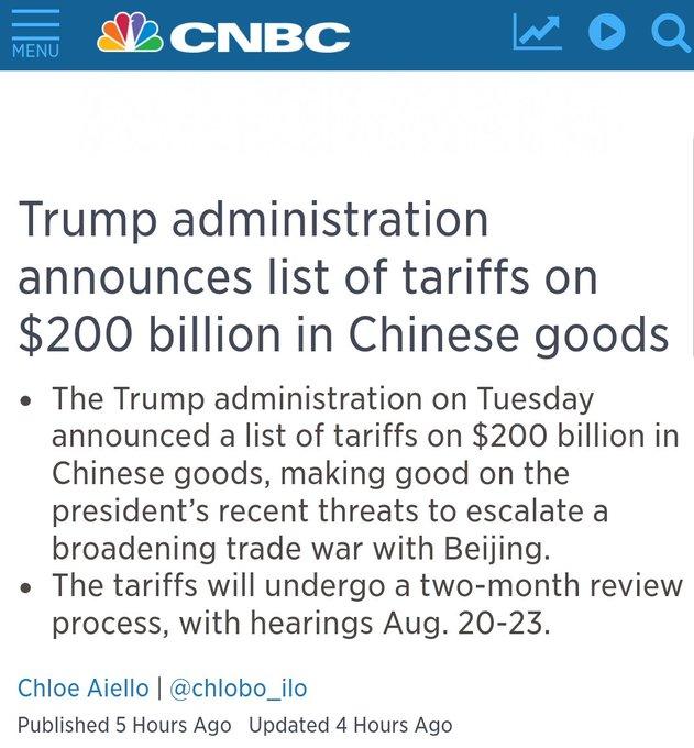 #TRUMP Anuncia una lista de aranceles a #CHINA por millones $.... Esto se pone más feo ...... Photo