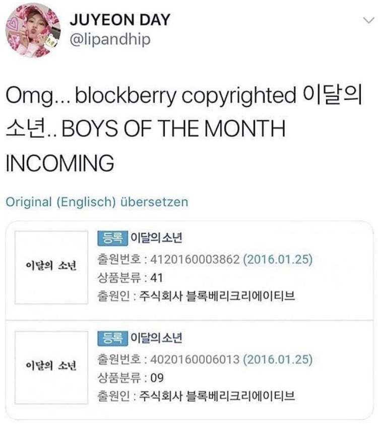Blockberry Creative copyrighted Boys Of The Month. This connects to 8x8x8's sister group loona being called Girls Of The Month? <br>http://pic.twitter.com/7aM3XO9wXv