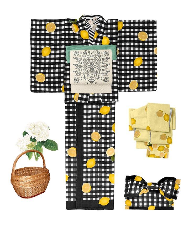 #さく研究所 レモンの柄絵羽着物(浴衣)即納品2点入荷しました。  #カラーミーショップ大賞2018 ぜひぜひ投票お願いします!