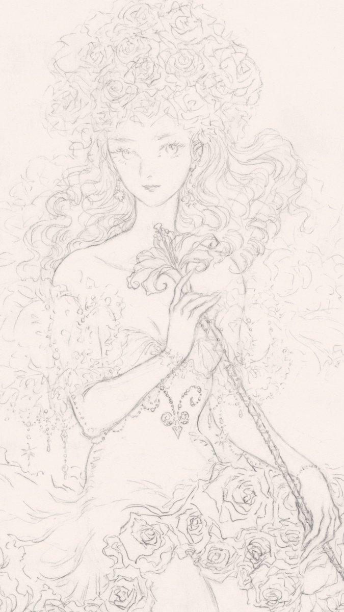 サガフロンティア サガフロ21周年おめでとう! 大好きな白薔薇姫(不完全な線画でごめん) saga frontier #サガフロ21周年