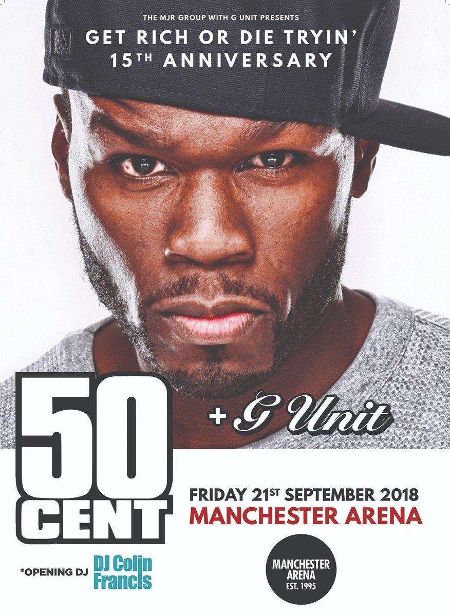 🎤   #GUnit will play alongside @50cent at #Manchester Arena this September as he celebrates the 15th anniversary of his seminal album #GetRichOrDieTryin. 🎫 manchester-arena.com/events/50-cent…