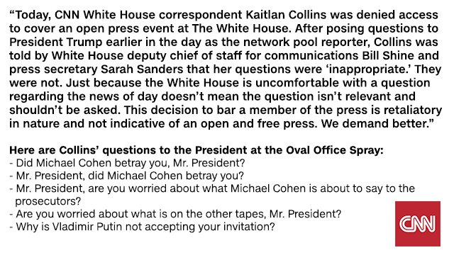 Statement regarding CNN press access at today's White House event. We demand better.