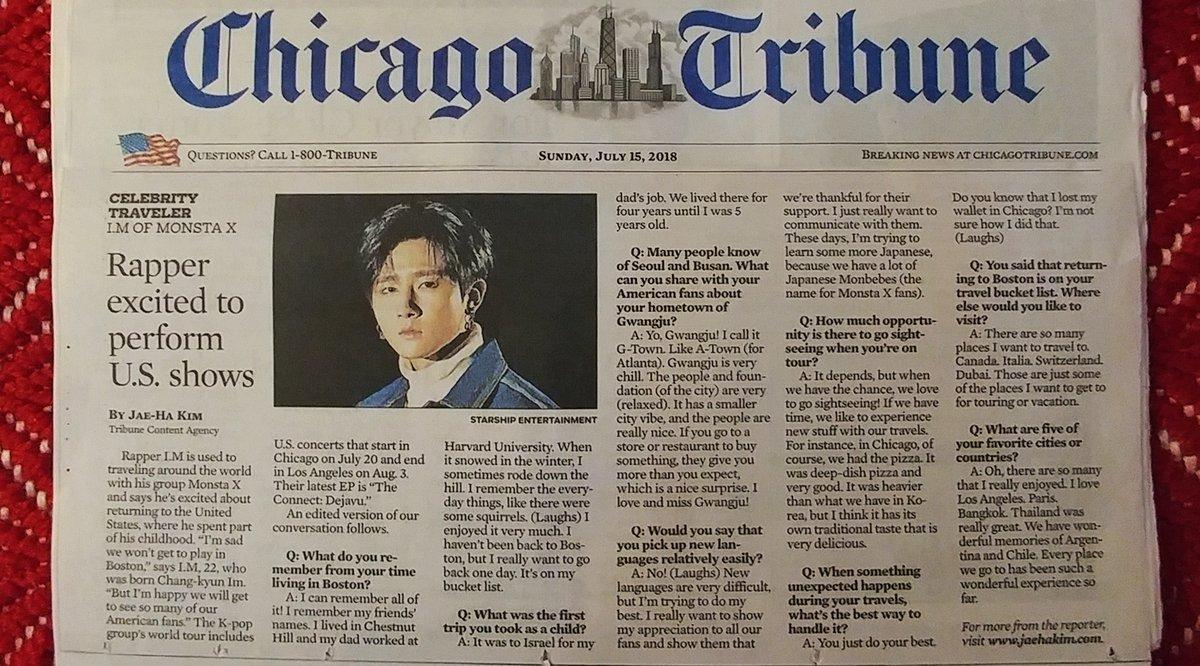 MONSTA X's I.M appears in the Chicago Tribune https://t.co/1HgsajLAsV