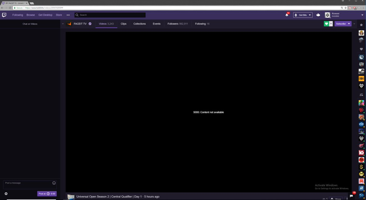 Twitch error 5000 chrome