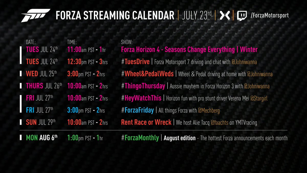 News livestreams and calendar for fh4 forza horizon 4 discussion official livestreams july 24 august 6 malvernweather Gallery