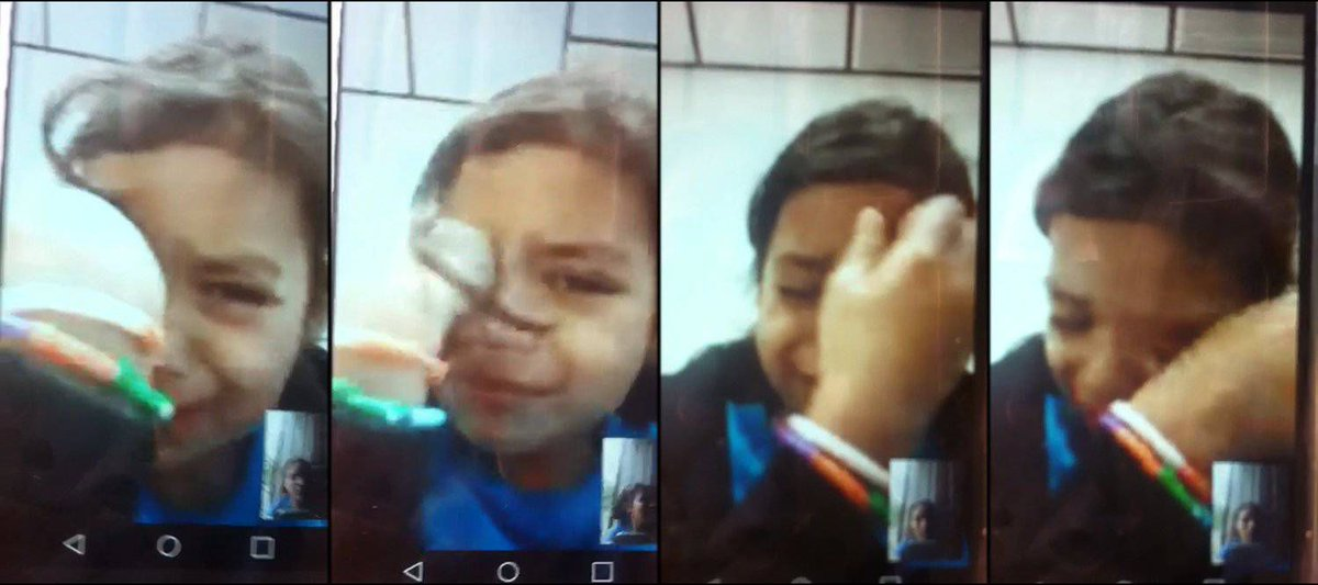 1/ This is Heyli. She is a six-year-old migrant. In a video call with her mother on Friday, she was sobbing uncontrollably — rubbing her eyes and rocking back and forth.   She's waiting to be reunited with her father.  https://t.co/2L6Sa3VBJ8