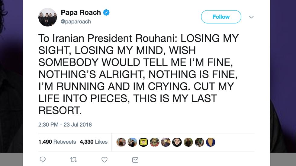 papa roach trump tweet