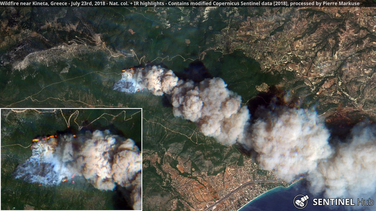 Wildfire near Kineta, Greece. July 23rd, 2018. Copernicus/Pierre Markuse