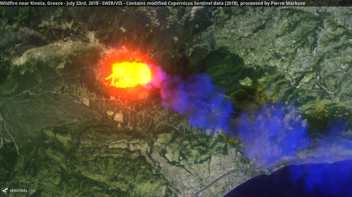 Wildfire near Kineta, Greece. Copernicus/Pierre Markuse
