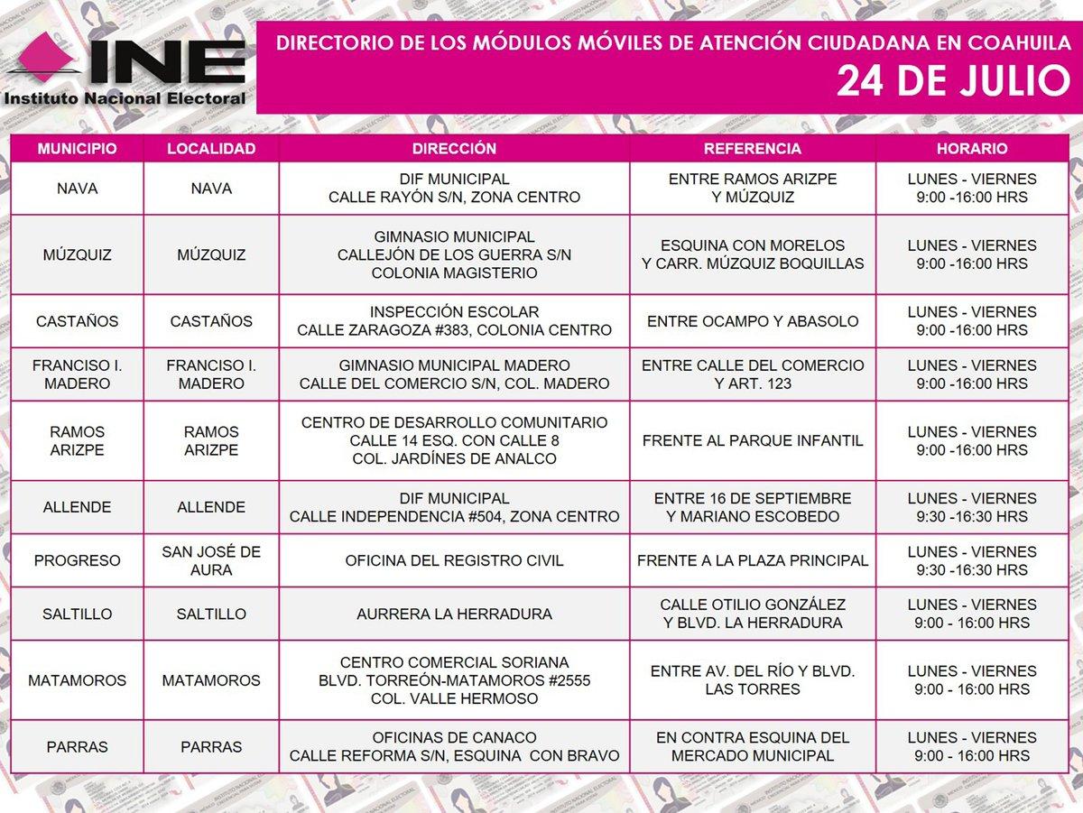 Ine Coahuila On Twitter Te Compartimos Las Sedes Que