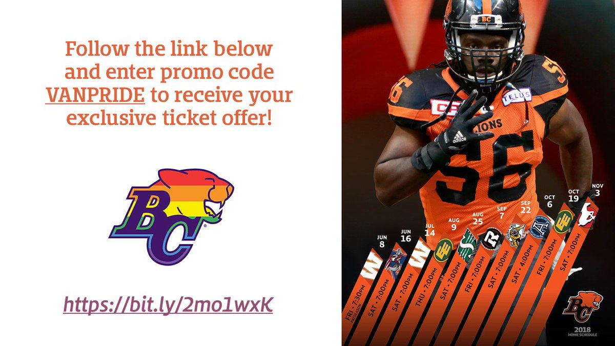 """356386496 Good news   BCLions are offering discount tickets with the promo code  """"VANPRIDE"""""""