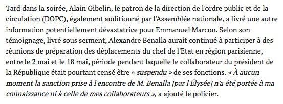 L'@Elysee et le @Elysee_Com ont menti : jamais la mise à pied d'Alexandre Benalla n'a été effective. Elle n'a pas été notifiée aux services concernés. Et l'homme de confiance @EmmanuelMacrond' a continué à participer à des réunions opérationnelle@mediapartshttps://t.co/R4u2UuTJym