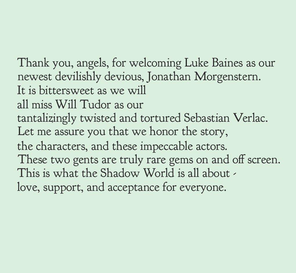 I love this fandom. 🖤 Thank you, Angels! @willtudor1 @LukeBaines #Shadowhunters