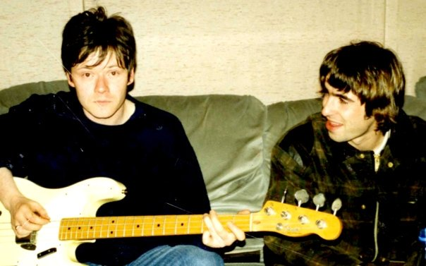 Very rare shot of Me and Liam, Oasis Morning Glory recording sessions, Rockfield Studios, Monmouth, Wales - 1995. (Thats Guigsys bass Im playing).