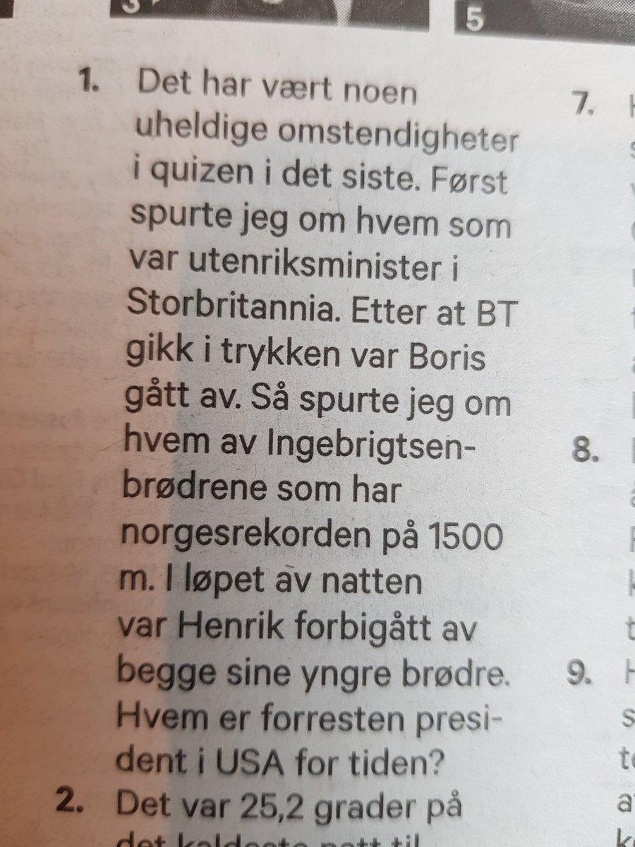 Jan Arild Breistein i dagens BT. Den beste åpningen på en quiz. Noensinne. ????