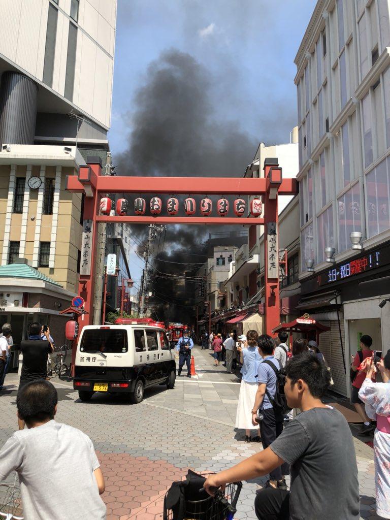 浅草で爆発車両火災が発生している火事現場の写真画像