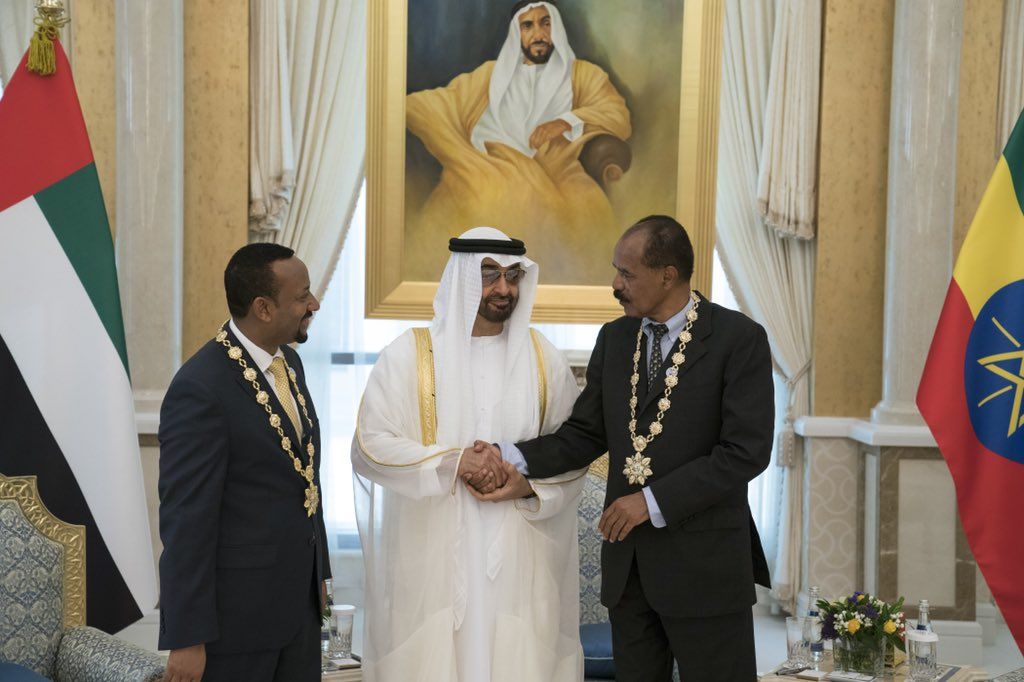 Image result for Mohamed bin Zayed presents the Order of Zayed, conferred to the President of Eritrea and Prime Minister of Ethiopia