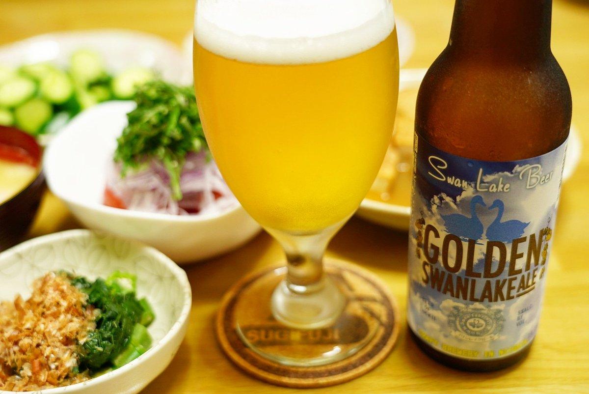 #スワンレイクビール の入荷を祝して、今夜は #ゴールデンエール で乾杯! コレはスムーズな飲み心地でヤバイっす!スッキリ爽やかながらも、全然物足りなくもなく、洗練されたバランス感覚にサスガの一言。熱帯夜の晩酌にピッタリ!レギュラーなビールながら、しっかりとレベルの高さがわかる一本♪ pic.twitter.com/15NhvLyXR9 – at 杉山商店