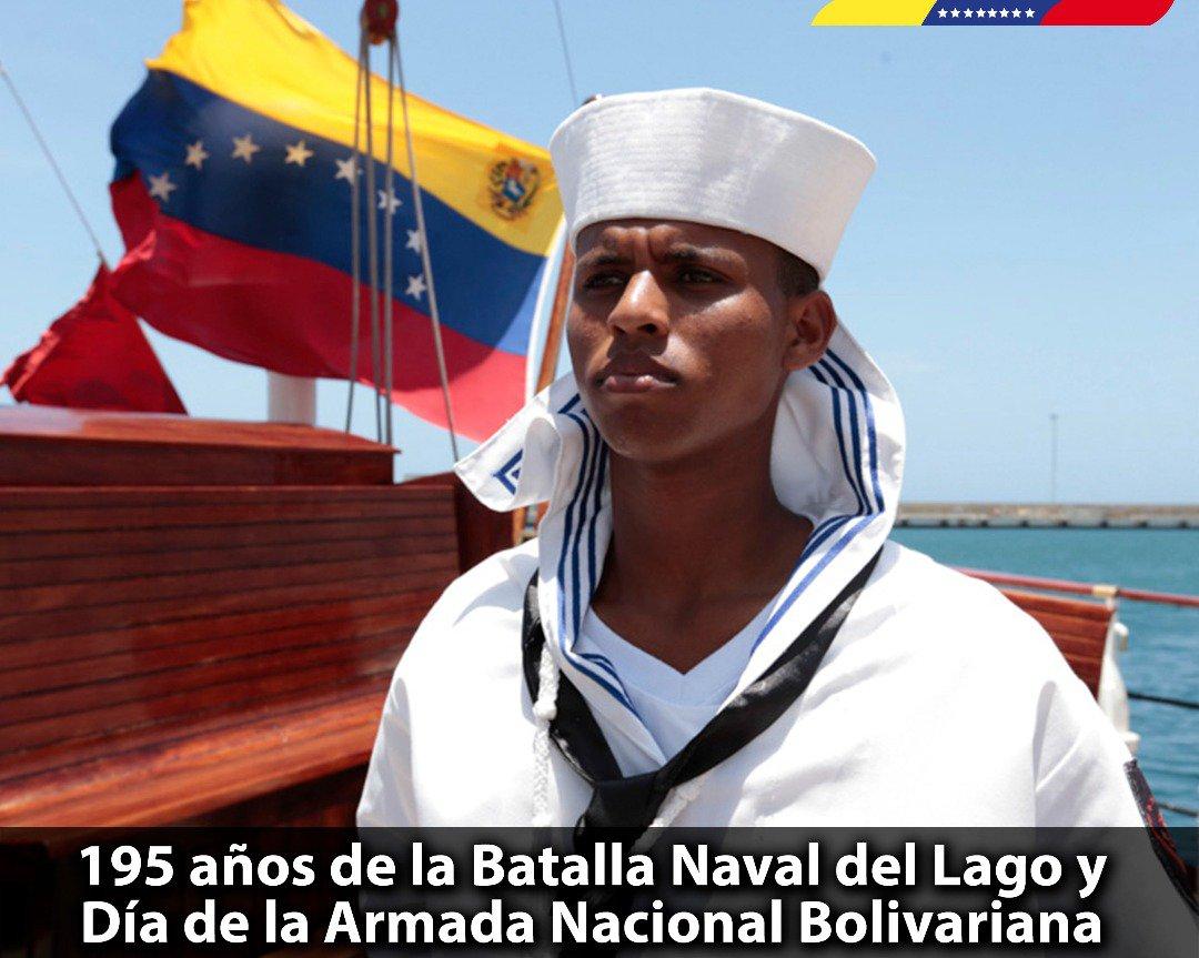 Conmemoramos el 195° aniversario de la Batalla Naval del Lago de Maracaibo, gesta que selló la Independencia de la Patria. En el marco esa histórica victoria, celebramos el Día de @ArmadaFANB. Hombres y Mujeres que defienden y resguardan nuestra soberanía marítima. ¡Felicidades! https://t.co/oTzxariTu8
