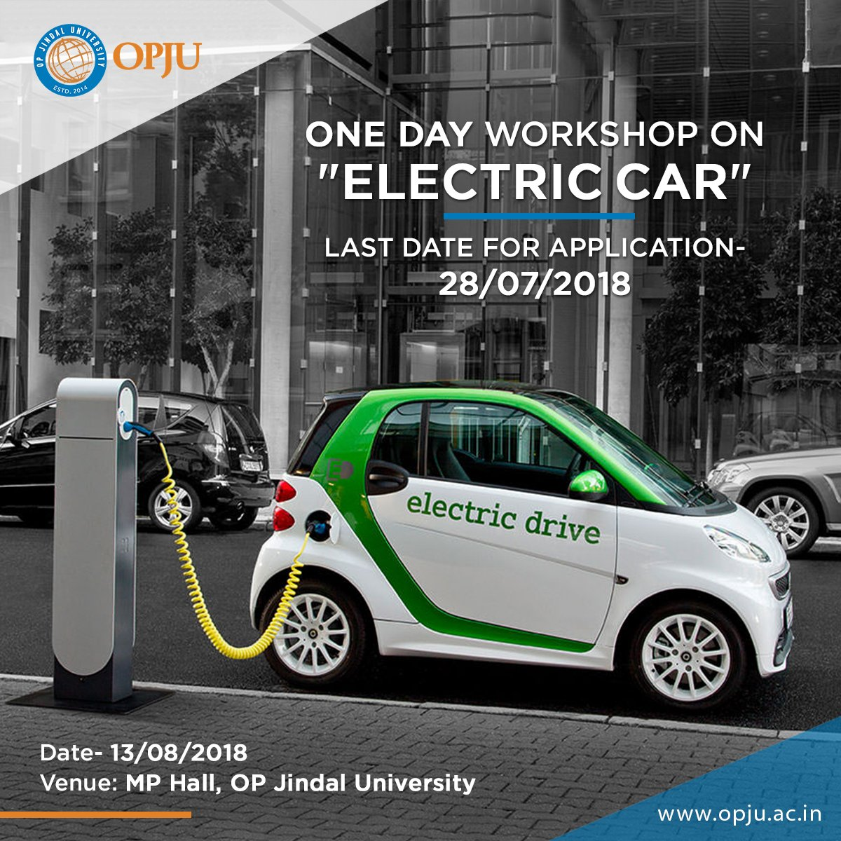 Save the Date for this exciting one day #WORKSHOP.  Department of #MechanicalEngineering in association with CIAC@OPJU is going to organise a One Day invited talk (Workshop) on &quot;Advances in #ElectricCar and its future prospects in India&quot;. For Registration:  http:// bit.ly/2KT6tc8  &nbsp;  <br>http://pic.twitter.com/jWfk8zYaP1