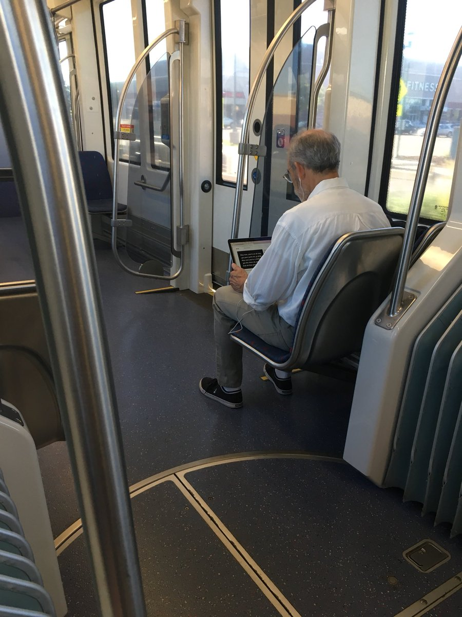 dude was living it up on the train this morning.