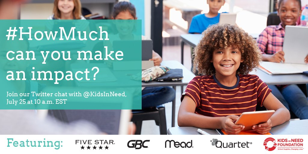 #HowMuch can you make an impact this back-to-school season? Join us for a Twitter chat with @KidsInNeed tomorrow at 10 AM EST to find out! https://t.co/CEvPH3aUWw