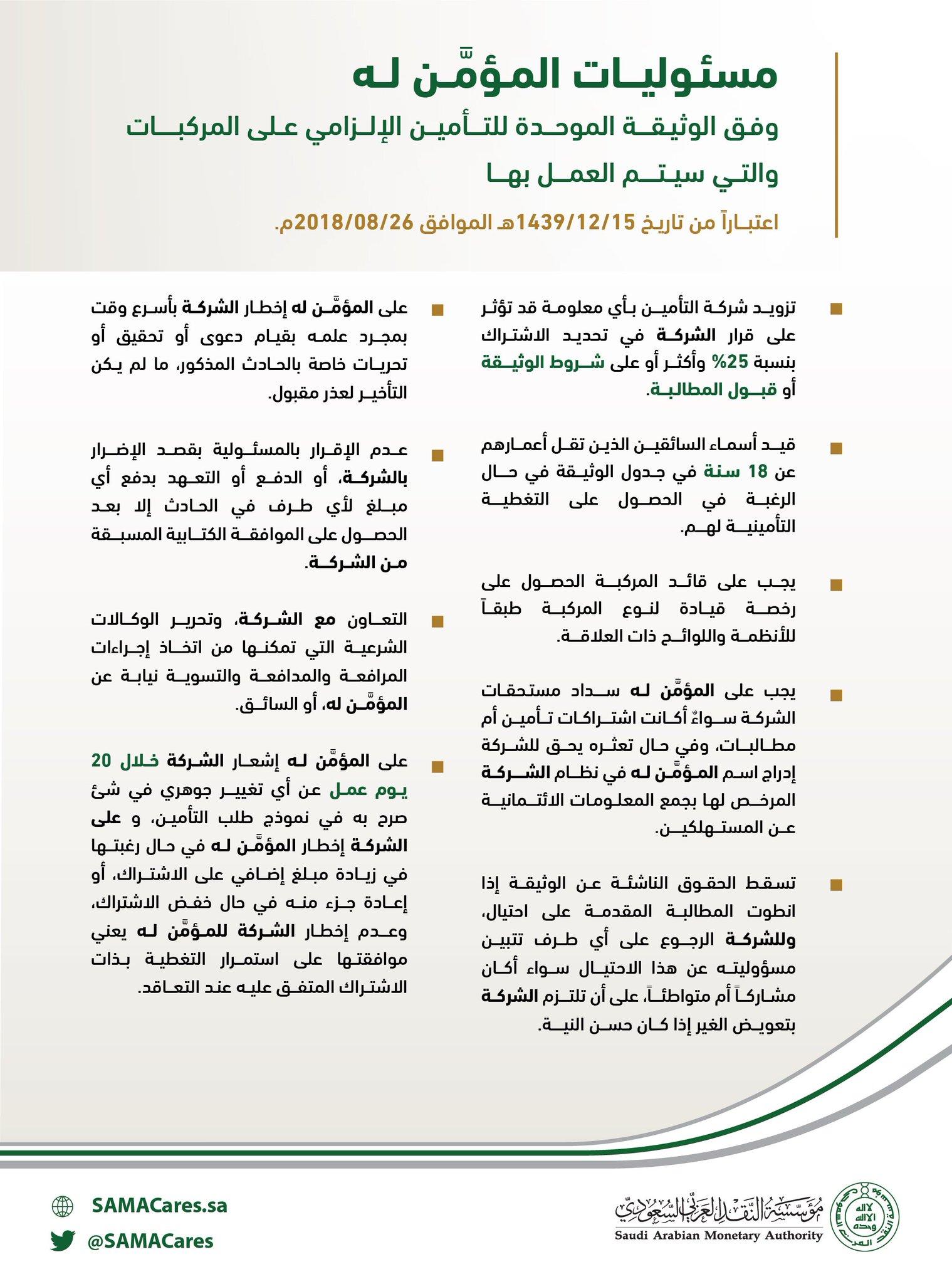 Sama البنك المركزي السعودي A Twitter مسئوليات المؤم ن له وفق الوثيقة الموحدة للتأمين الإلزامي على المركبات مؤسسة النقد