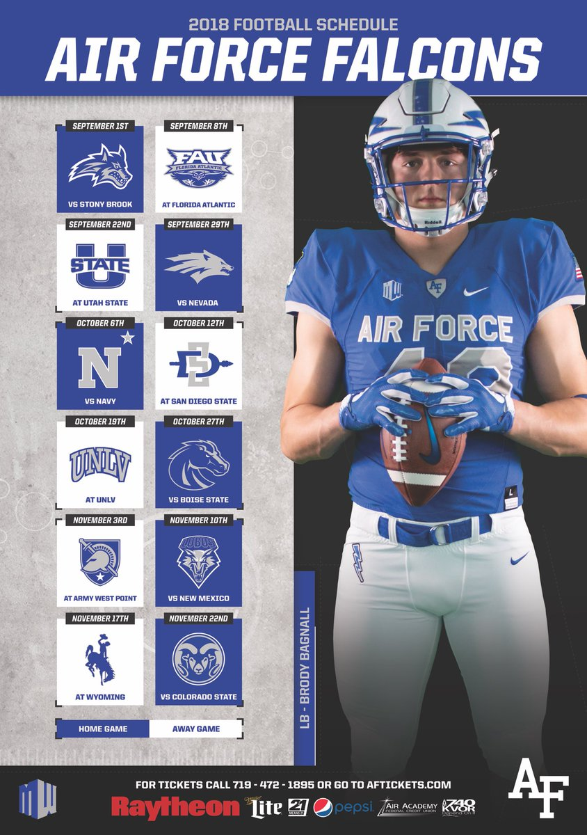 Air Force Football On Twitter Here They Are Falcon Nation 1 Of 6 Schedules You Can Collect This Season First Up Lb Brody Bagnall Make Sure To Keep Checking In Hourly To