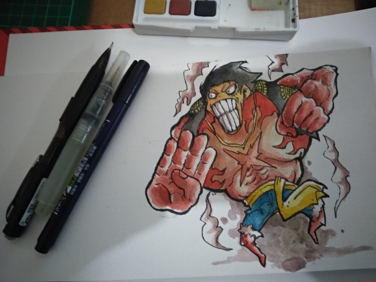 Drawing Luffy Gear 4th Watercolor On Paper Draw Illustration