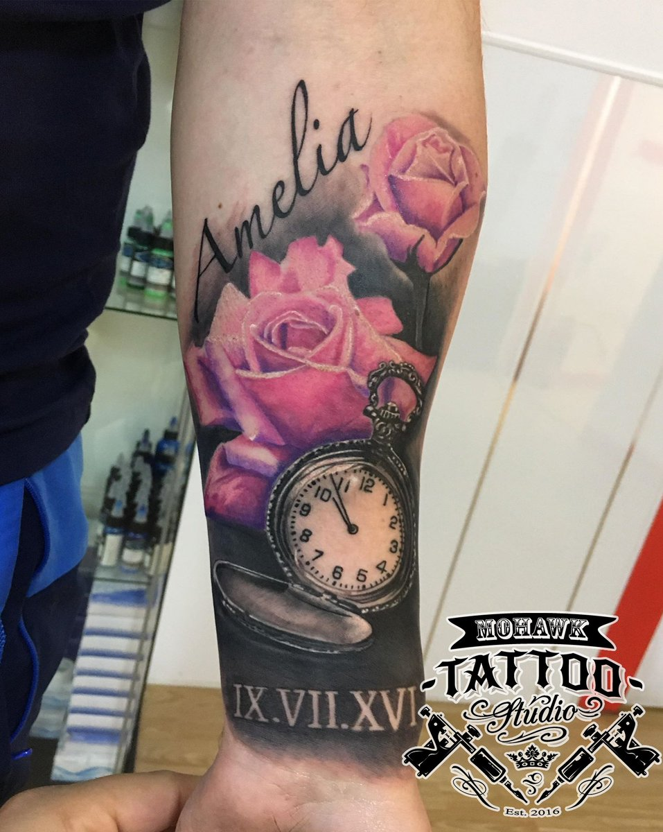 54f3c98a7 Colour realism roses and B&G realism pocket watch #ink #inkedgirls  #tattoolife #tattooed #inked #inkwell #tattoist #inkedlife #tattoos #tats  #inklife ...