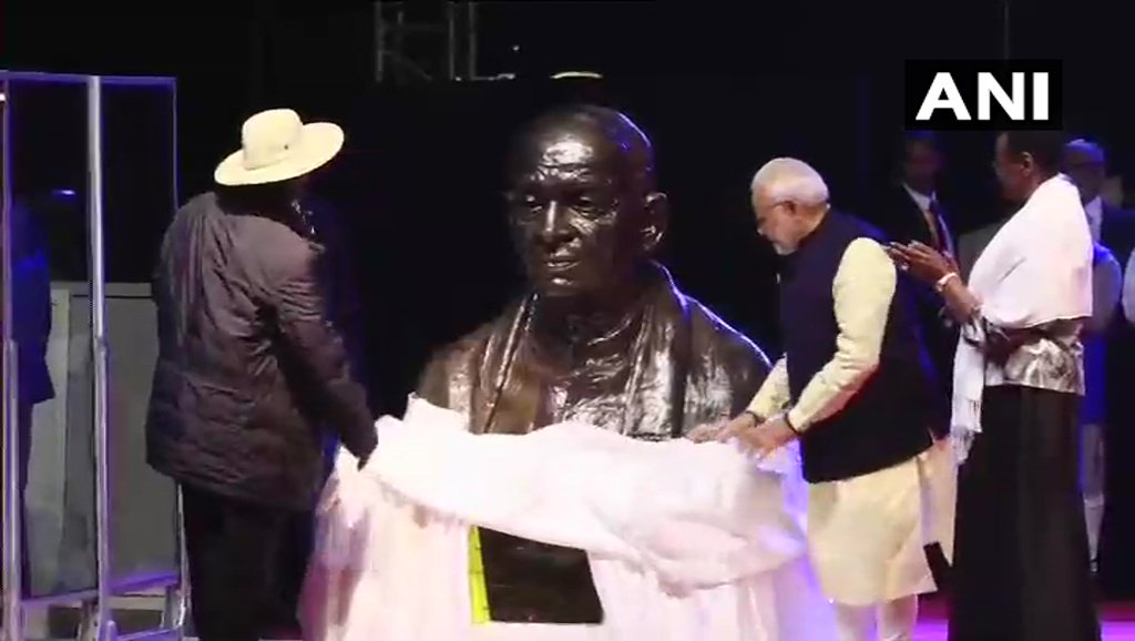 Image result for Prime Minister Narendra Modi unveils bust of Sardar Vallabhbhai Patel in Kampala.