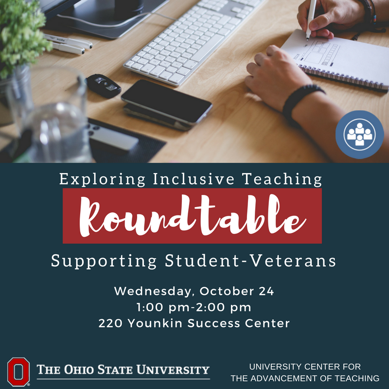 Join the Office of Military and Veteran Services in a roundtable conversation about how to support student-veterans in your classroom. https://t.co/2mXKcvURvU