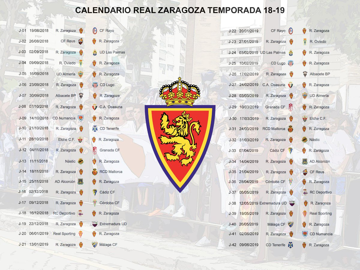 Calendario Del Real.Real Zaragoza On Twitter Toma Nota Del Calendario Del