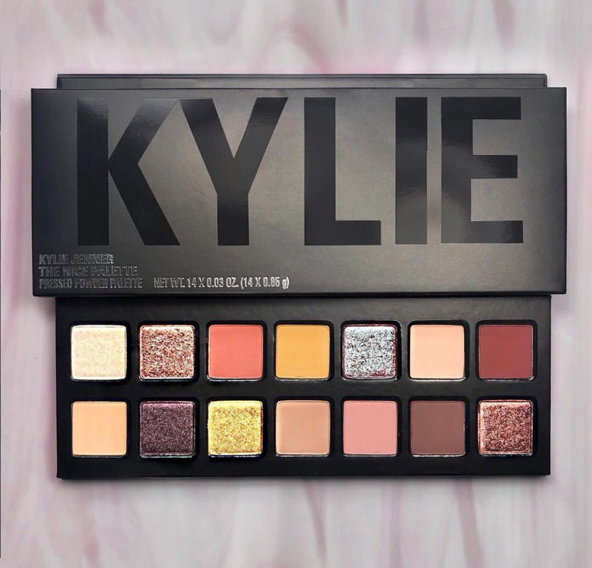 BACK #InStock  LINK   http:// bit.ly/KylieCosmetics     Online   The Collection @KylieCosmetics X @krisjenner +  The Nice #EyeshadowPalette from #kyliecosmetics #Holidays2017 with a New Black Packaging <br>http://pic.twitter.com/1aZbCUBPKt