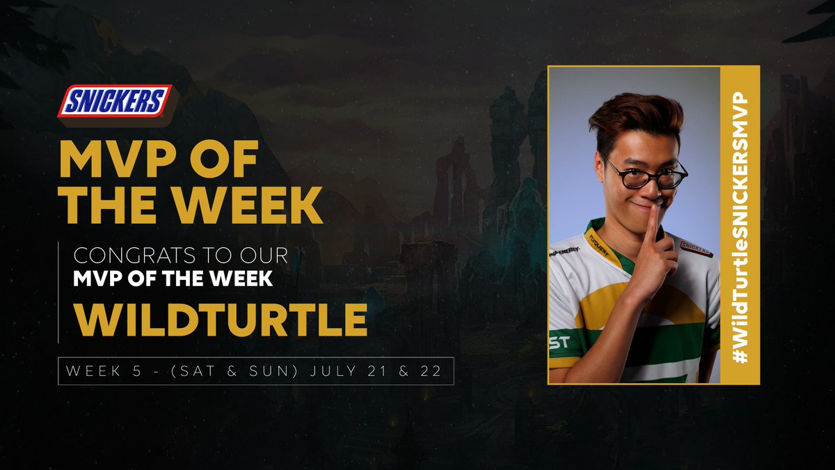 Shhhhhh....its ok. You know you wanted @WildTurtle to be your @SNICKERS MVP for Week 5. I mean, how can you not, he had a 14/3/11 KDA. #Facts