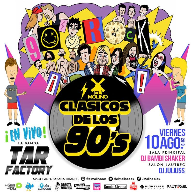 #LoQueSeVieneEnAgostoEnElMolino El viernes #10ago  ¡Los #ClásicosDeLos90s, en vivo! con la banda #TarFactory @BandaTabako <br>http://pic.twitter.com/Sxmp18NVoQ
