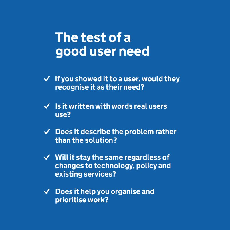 The test of a good user need (via @leisa and @BenHolliday). http://www.hollidazed.co.uk/2017/07/08/leading-service-design-posters/ …