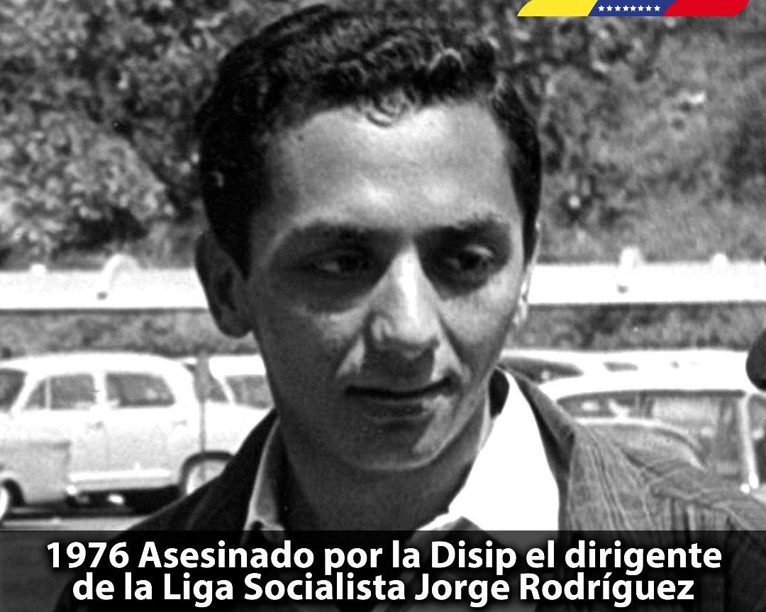 Conmemoramos 42 años del brutal asesinato del líder revolucionario Jorge Rodríguez, hombre de moral y dignidad intachable que entregó su vida por la construcción de la Patria Socialista. Hoy seguimos su lucha eterna. ¡Viva Jorge Rodríguez! https://t.co/714HkDEOk6 https://t.co/b8GnAus82Q
