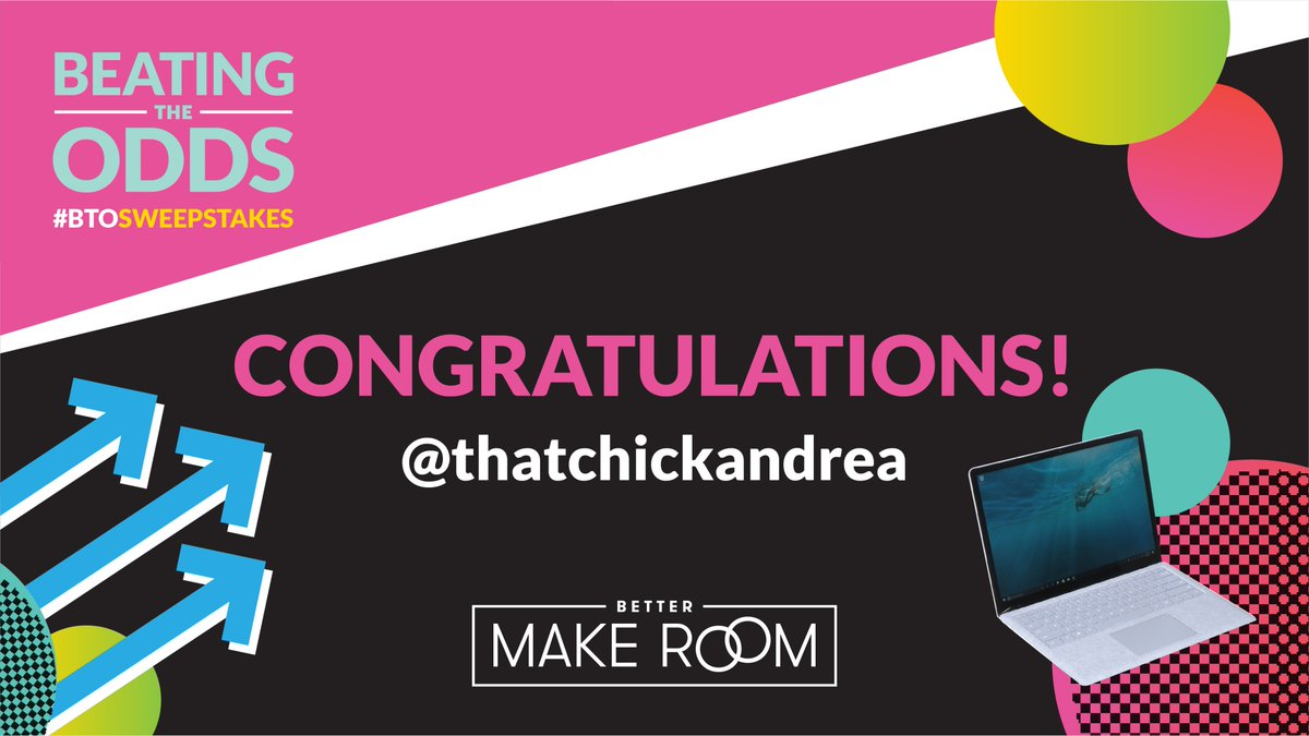 Hey @thatchickandrea, feeling lucky today? We hope so, BECAUSE YOU'RE GETTING A #BTOSweepstakes LAPTOP! 🍀🍀