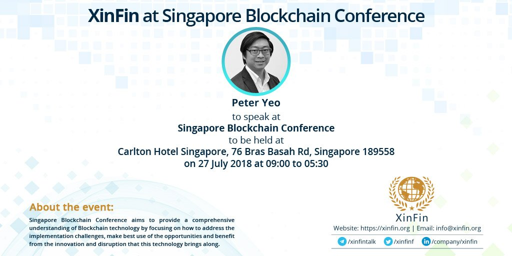 Xinfin Network Xdce Singapore Blockchain Conference Cryptocurrency Calendar