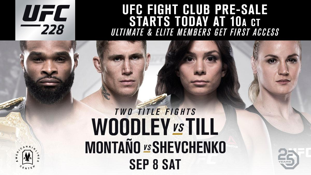 Get your seats at #UFC228 before anyone else. The @UFC Fight Club pre-sale is LIVE. 🎟 bit.ly/2JZPRi0