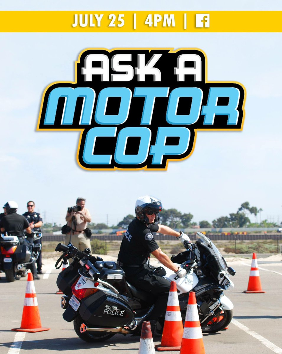 Watch #AskAMotorCop Live on Facebook to see what Officer Spielman has in store for you today, at 4PM!   #QandA #traffic #roadrules #trafficlaws #motorcop #collisions #citations #parking #DUI #distracteddriving #anaheimpd #motorcycle #safety #policeofficer #livestream<br>http://pic.twitter.com/BzrBp0UCbo