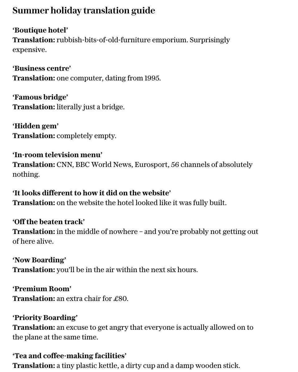 Booking a holiday? Good. Here's a handy translation guide. (@Telegraph / bit.ly/2EFbAOq)