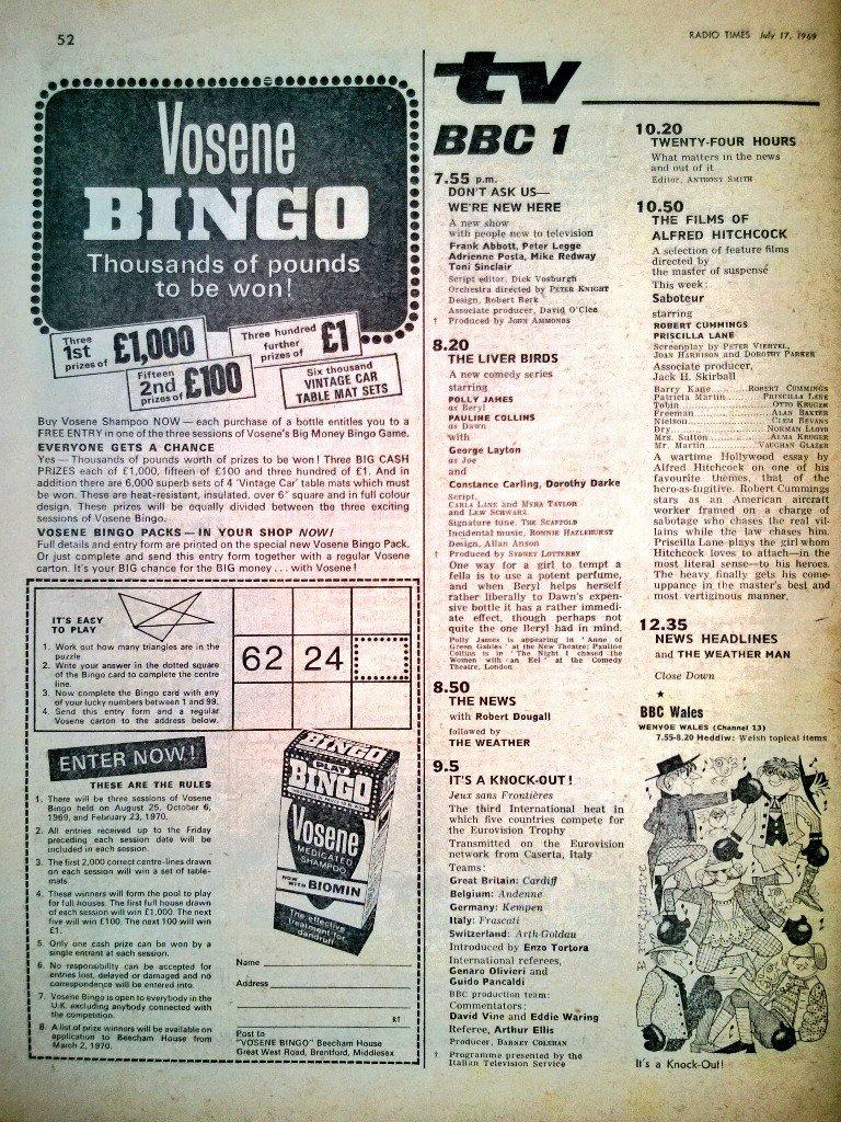 "Graeme Wood on Twitter: ""TV📺25/7/69 BBC1 6.20:Horse Show 6.40:The ..."